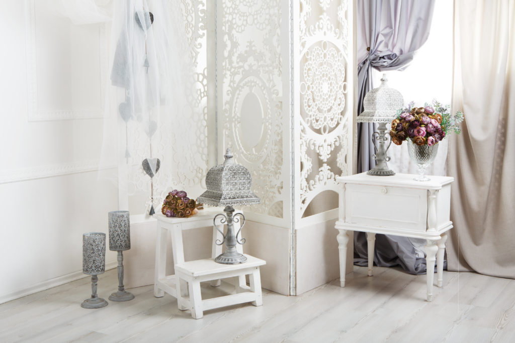 shabby chic white bedroom interior