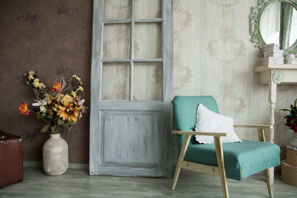 interior retro shabby chic room with an armchair