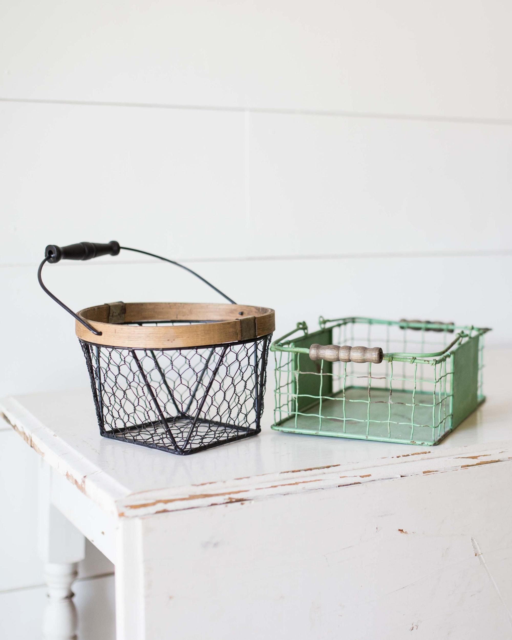 Some knickknacks from the farm to enhance your farmhouse look. A couple of wire baskets that you can trim with a flour sack and put some fruit in or just put them up on the top of the cabinets to add flavor to your decor.